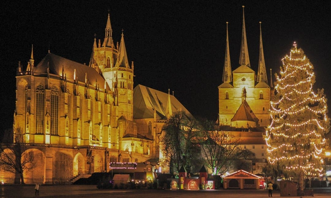 Erfurt Cathedral and the Christmas market.