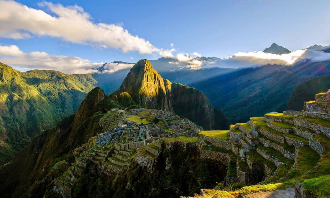 Sunrise on the ancient Peruvian site of Machu Picchu.