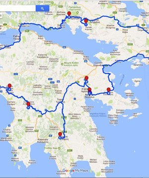 Map of the 9 day tour of southern Greece.