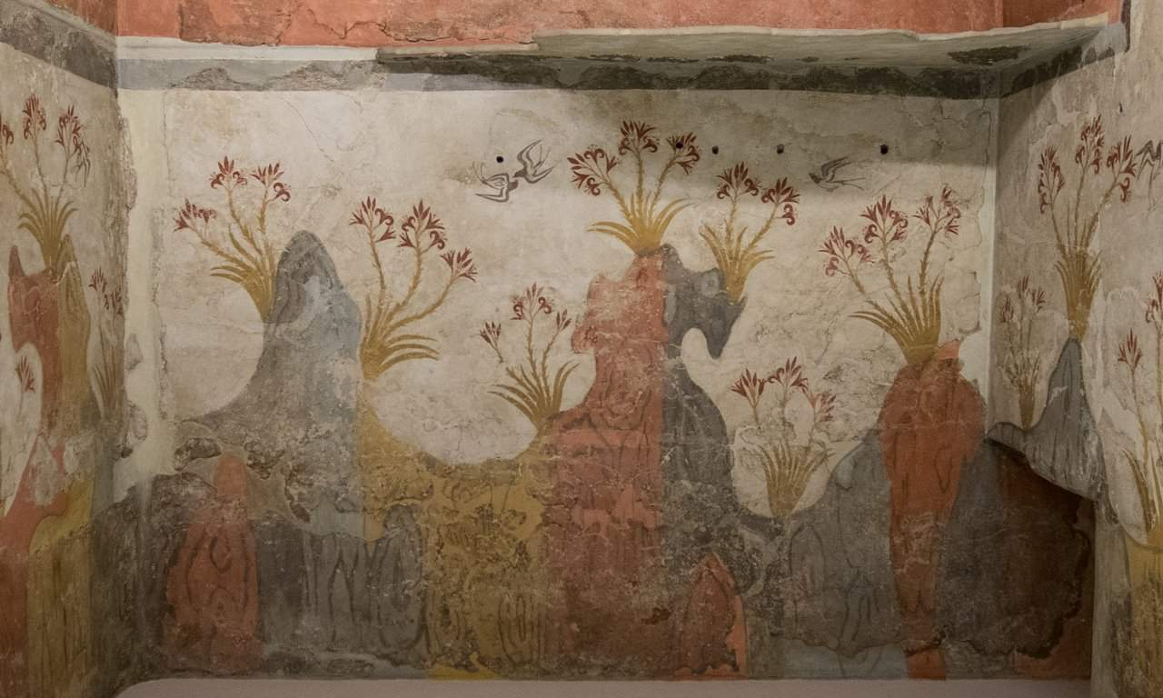 The 'Spring Fresco' from Akrotiri in the National Archaeology Museum, Athens.