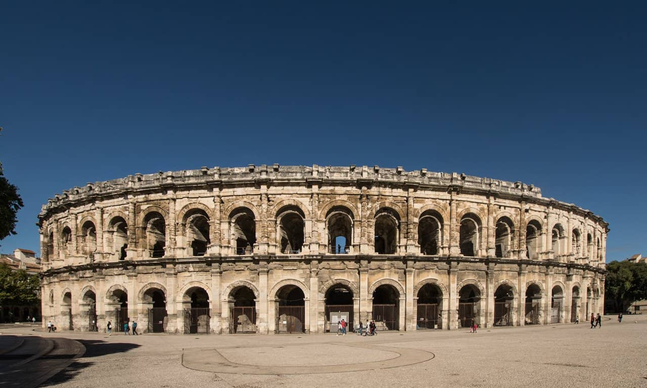 The Roman amphitheatre in Nîmes, France.
