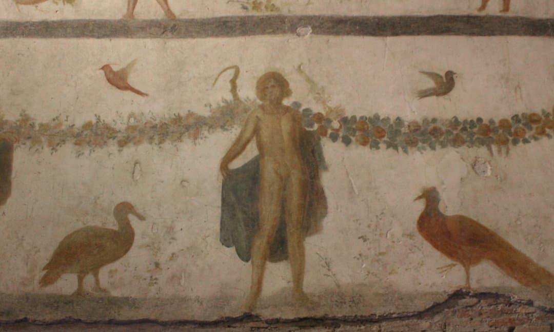 A fresco depicting a guardian spirit in Case Romane del Celio, Rome.
