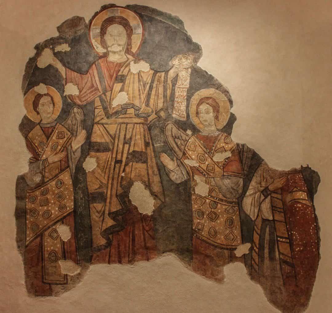 A medieval fresco of Christ in Case Romane del Celio, Rome.