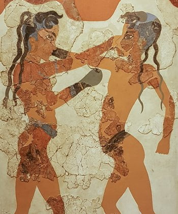 Fresco from Akrotiri depicting two boys boxing, National Archaeological Museum in Athens.