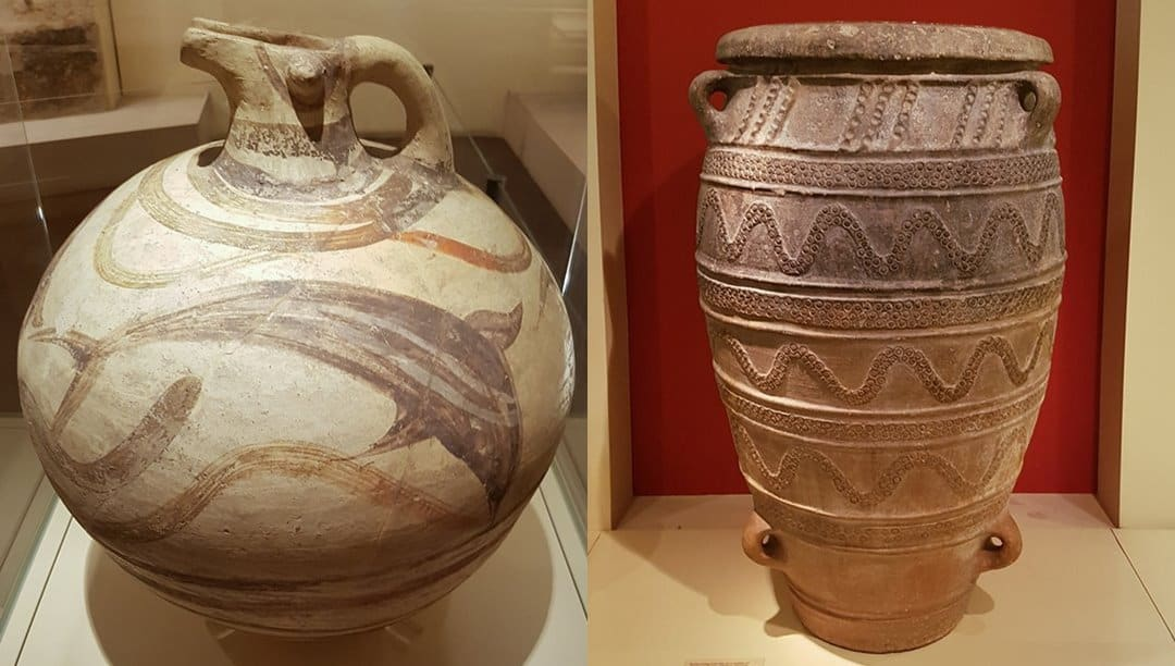Decorated ceramic pots from Akrotiri now on display in the Thera Gallery of the National Archaeological Museum.