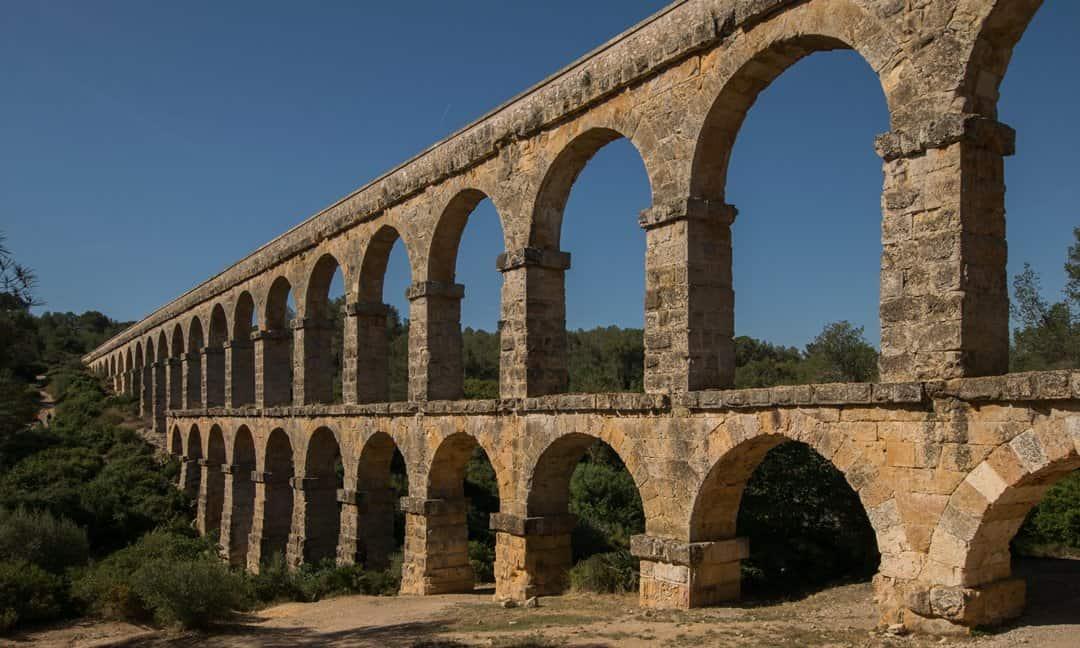 The Roman Ferreres Aqueduct just outside of Tarragona, Spain.