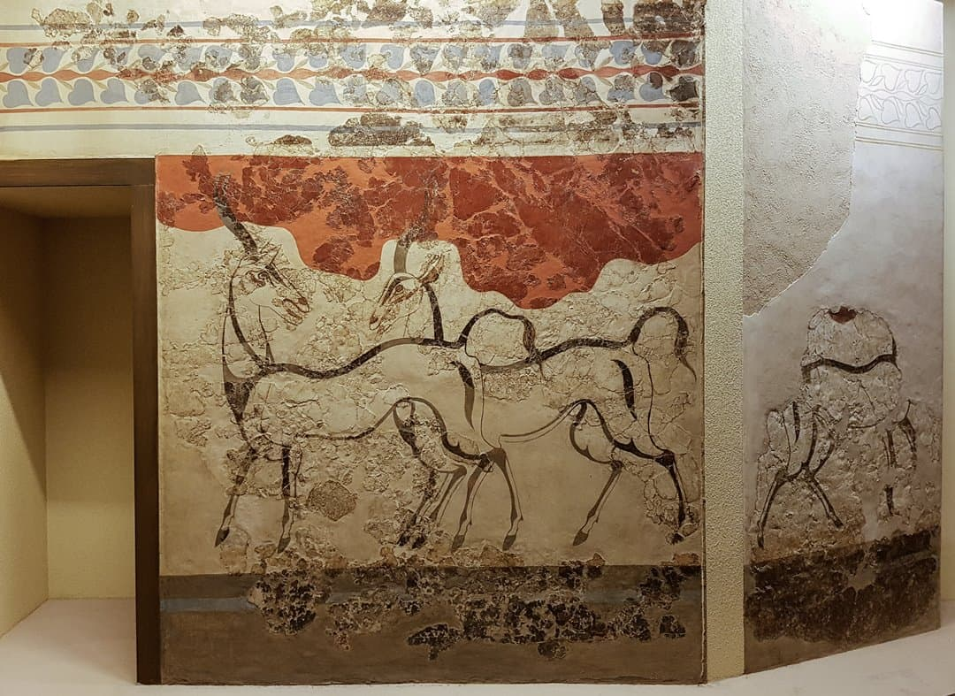 Beautifully simple sketches of a pair of antelope from Building Beta, Akrotiri.