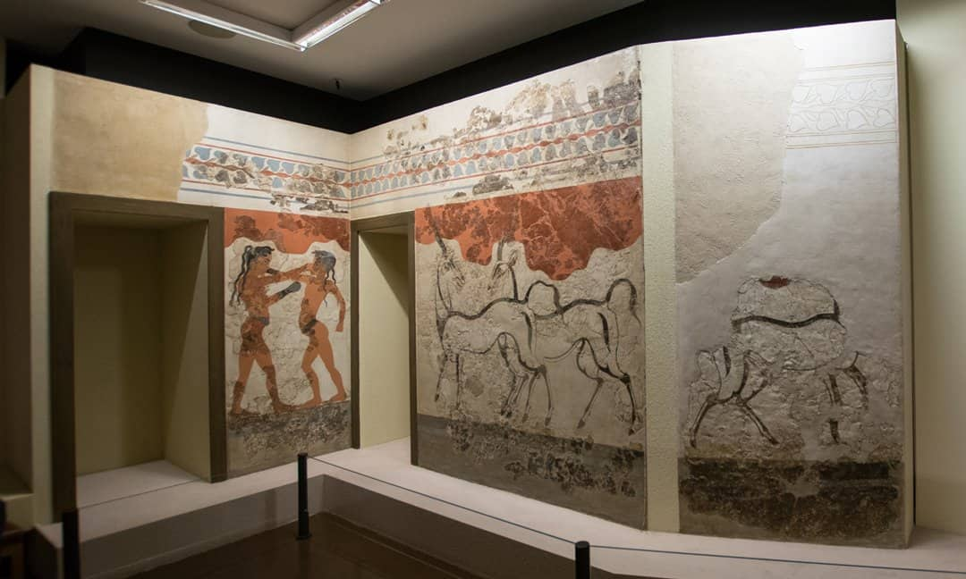 A reconstruction of the walls in Akrotiri on which the two boxers and the two antelope were painted.