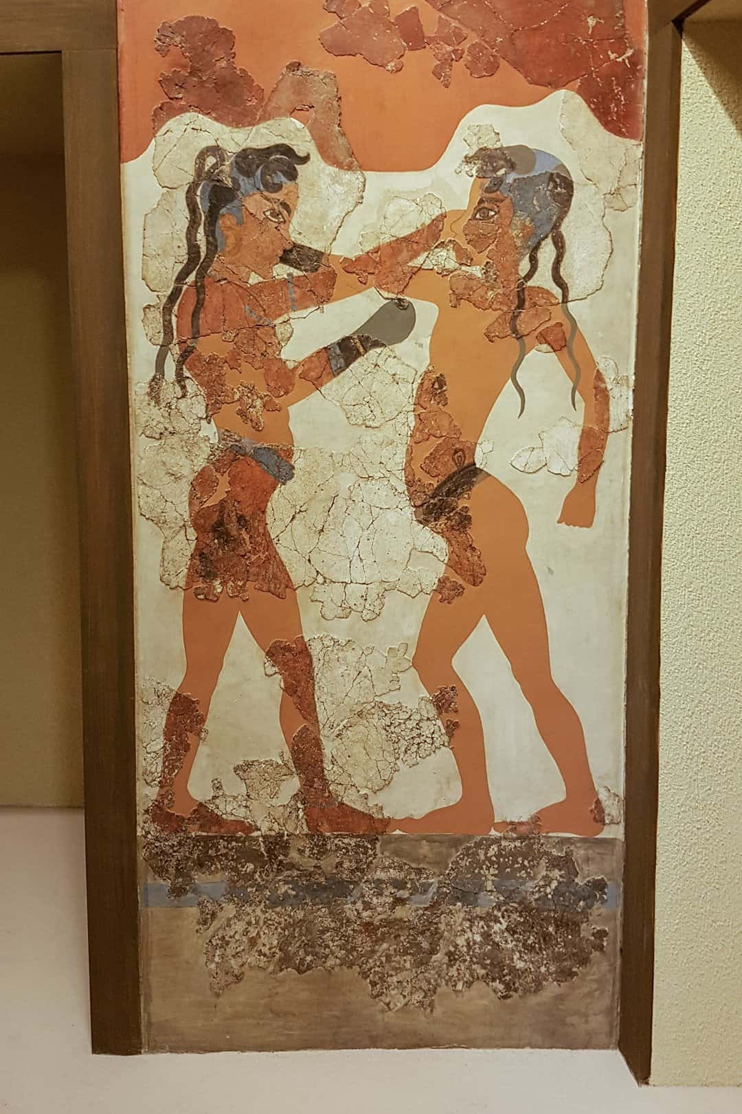 A fresco depicting two boys boxing, from Akrotiri and now in the National Archaeological Museum in Athens.
