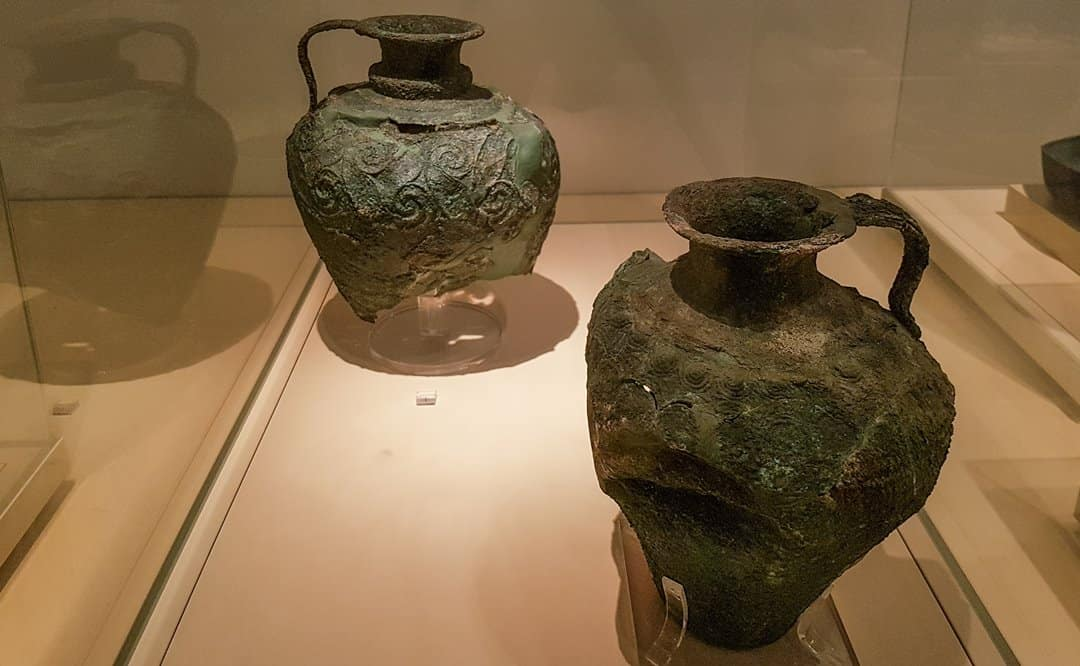 Decorated bronze pots from the archaeological site of Akrotiri, Santorini.