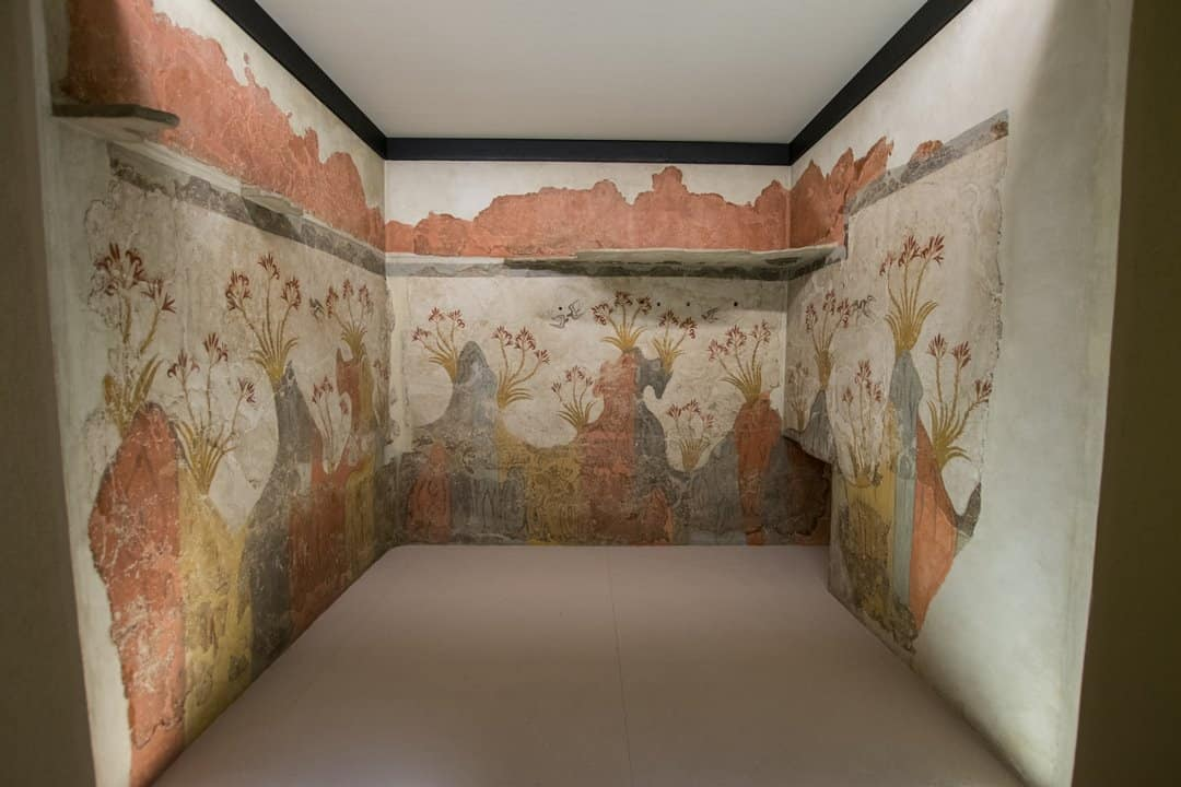 The three walls on which the Spring Fresco was painted in Akrotiri, Santorini.