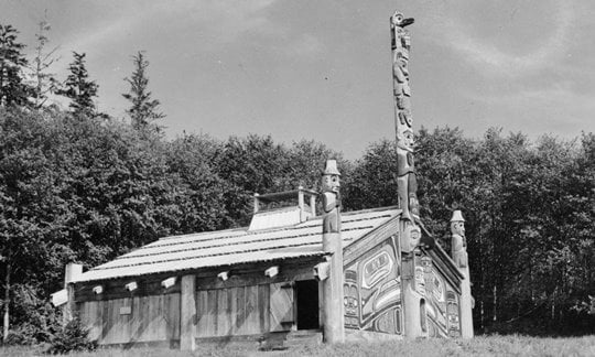 The clanhouse at Totem Bight State Historical Park, Alaska.