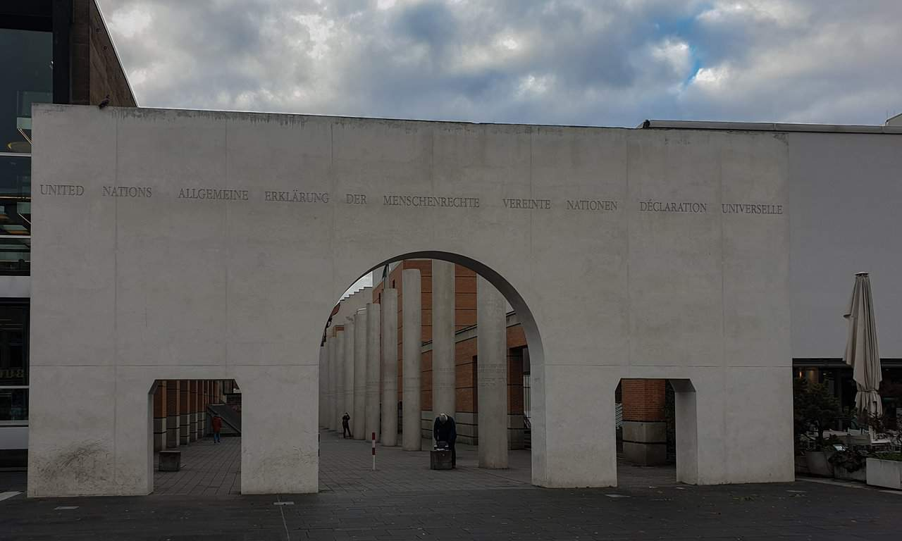 Gate to the Way of Human Rights in Nuremberg, Germany.