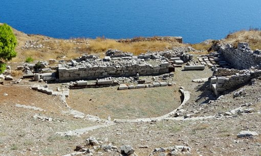 The theatre at the ancient site of Thera, Santorini.