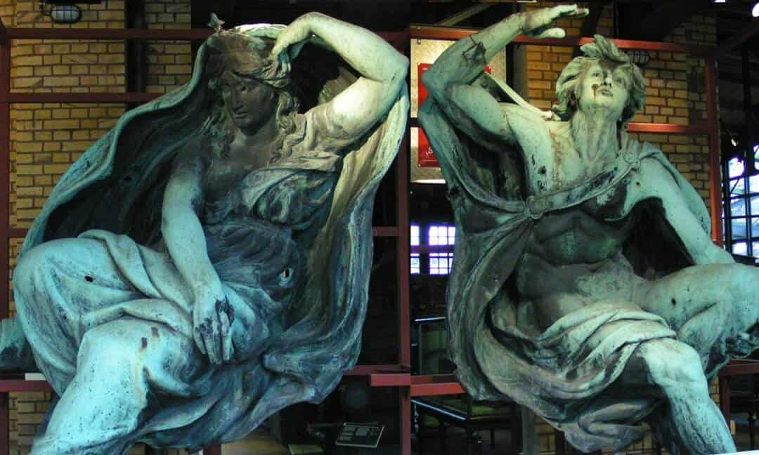 Night and Day sculptures that once adorned the façade of Anhalter Bahnhof, Berlin.