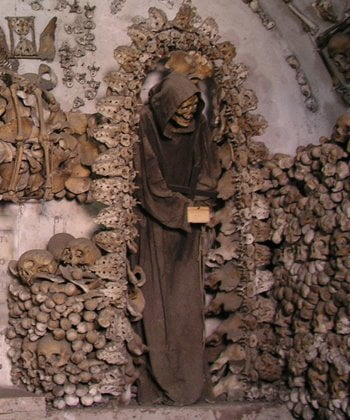 The crypt of pelvises in the Capuchin Crypt in Rome, Italy.
