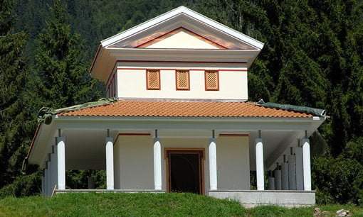 A replica of a typical Gallo-Roman temple in the Gurina Archaeological Park, Austria.