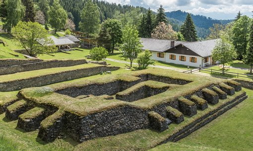 The remains of a Roman temple in the Magdalensberg Archaeological Park, Austria.