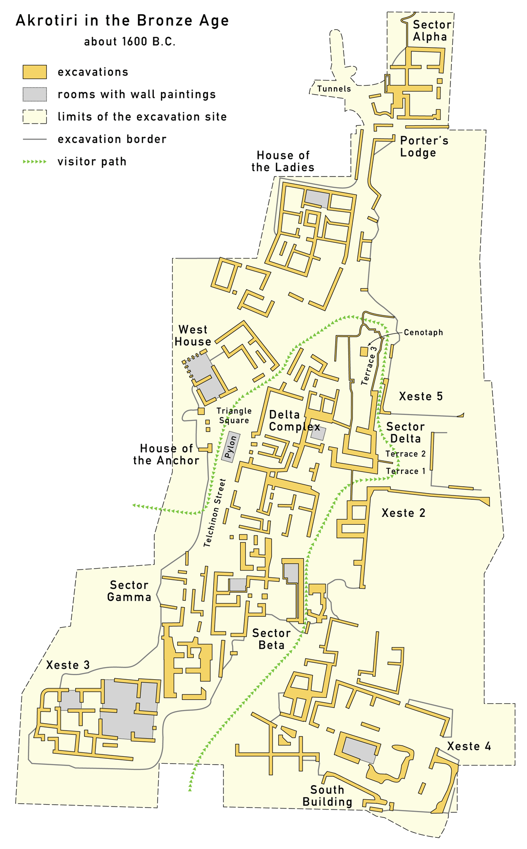 Map of the archaeological site of Akrotiri today.
