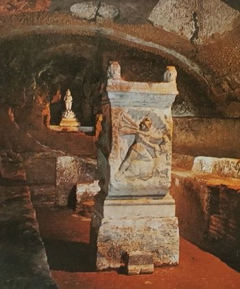 An altar with an image of Mithras slaughtering a bull in the Basilica di San Clemente, Rome.
