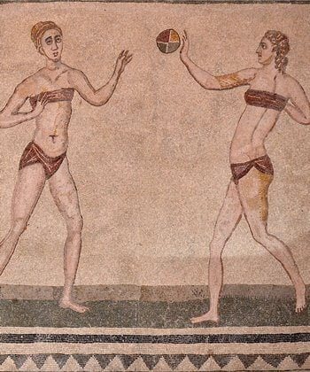 A Roman mosaic depicting women playing with a ball on the island of Sicily.