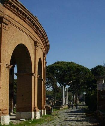 The theatre on the Decumanus Maximus at the Roman port city of Ostia.