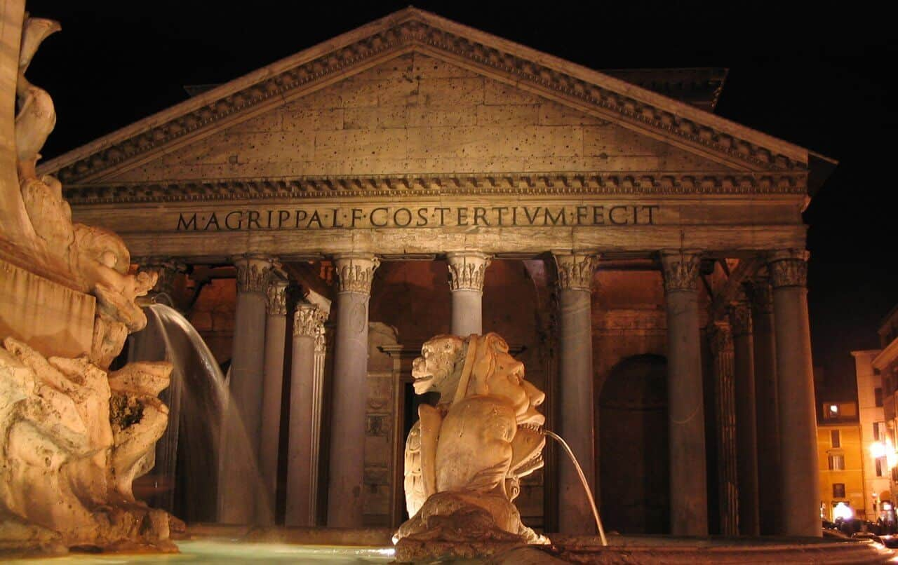The Pantheon in Rome by night.