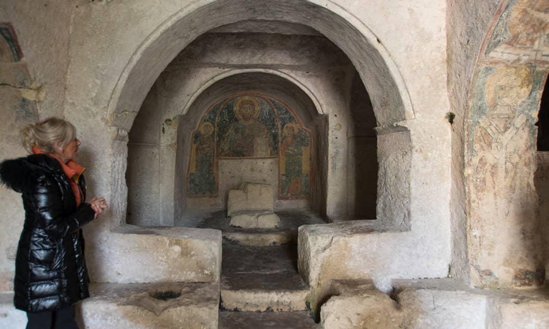 Inside the rock cut Church of Saint Nicholas, in Mottola, Puglia.