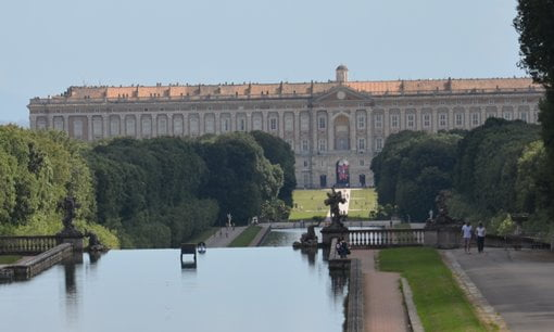 Looking down the water cascades towards the Palace of Caserta.