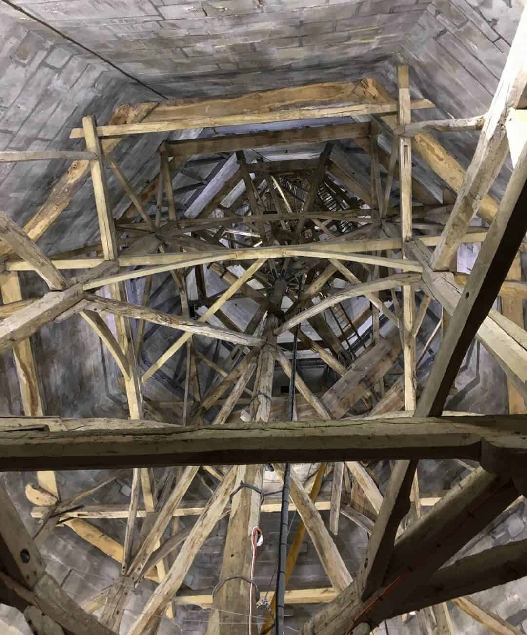 Looking up into the interior of the spire at Salisbury Cathedral.