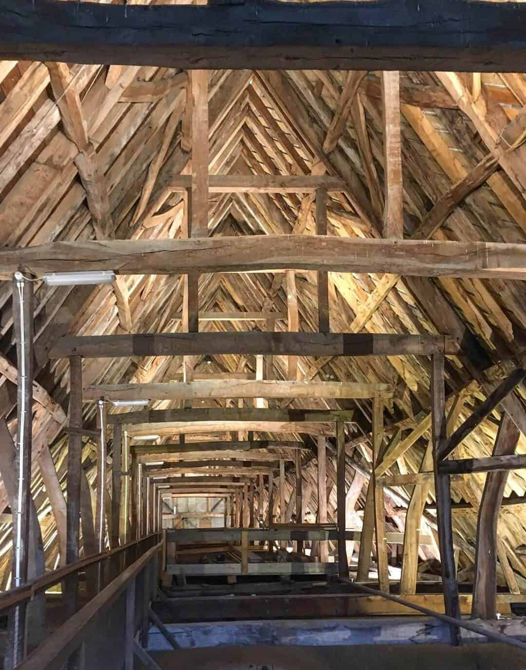 The Tower Tour takes visitors into the roof space to see 13th century beams still in place.