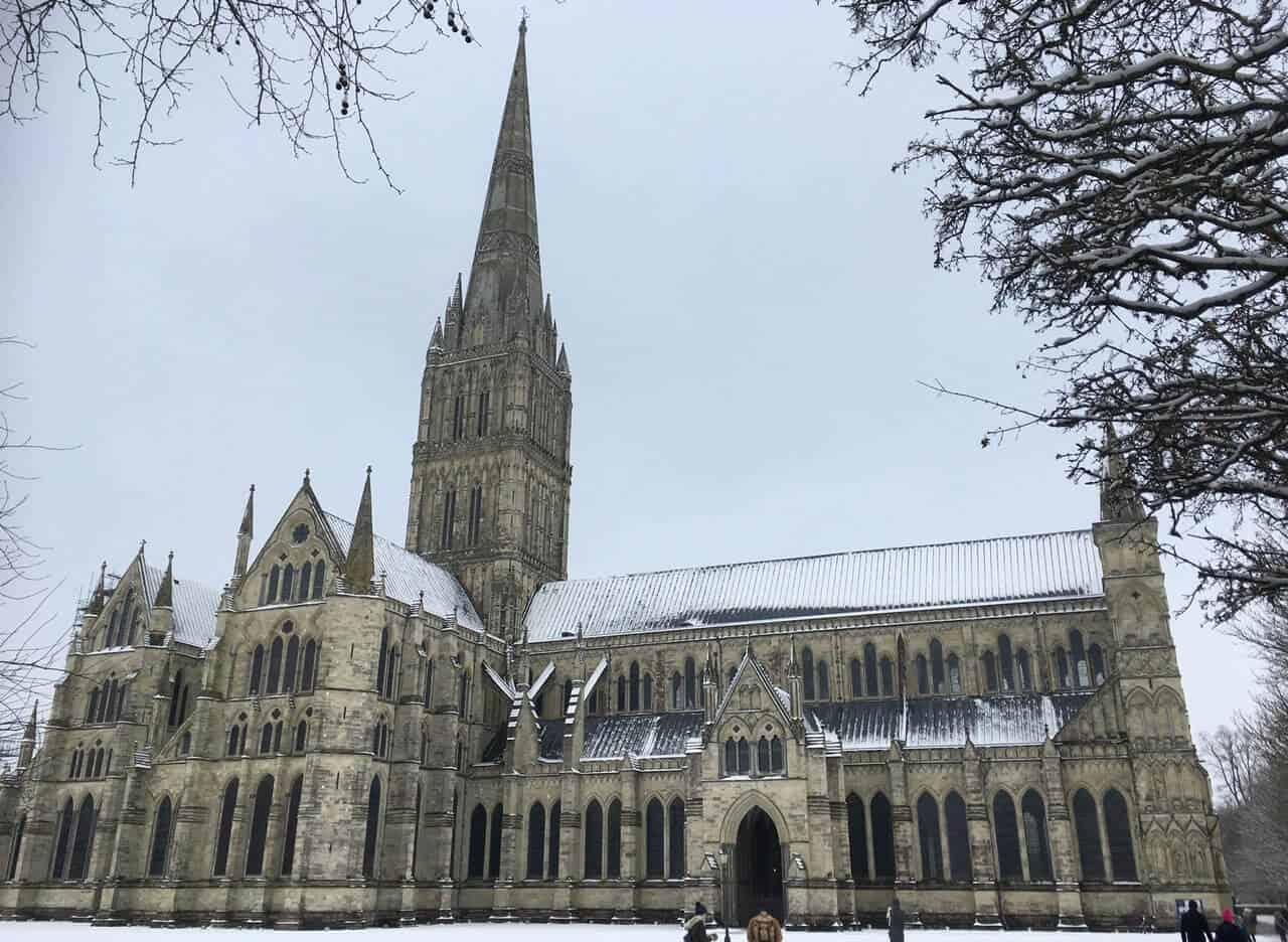 Salisbury Cathedral in the snow.