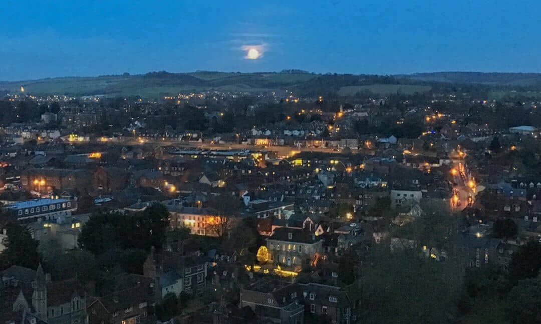 A full moon as seen from the Salisbury Cathedral tower.