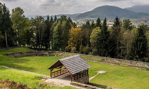 The amphitheatre at the Roman site of Virunum, Austria.