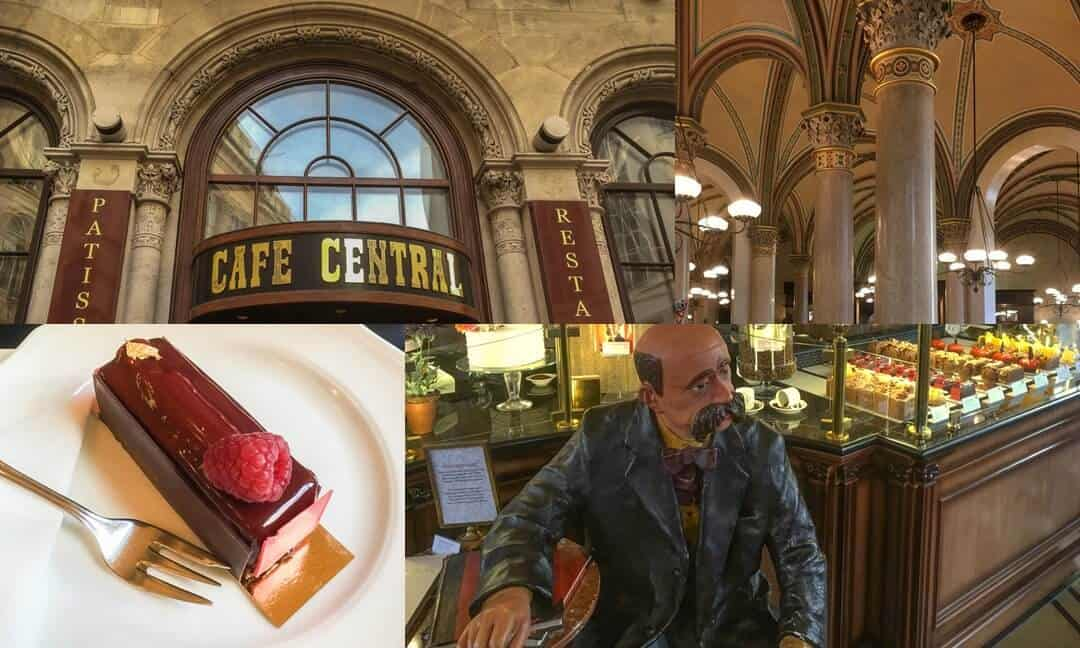 Interior and exterior of Vienna's Cafe Central including cakes and vaulted ceilings.