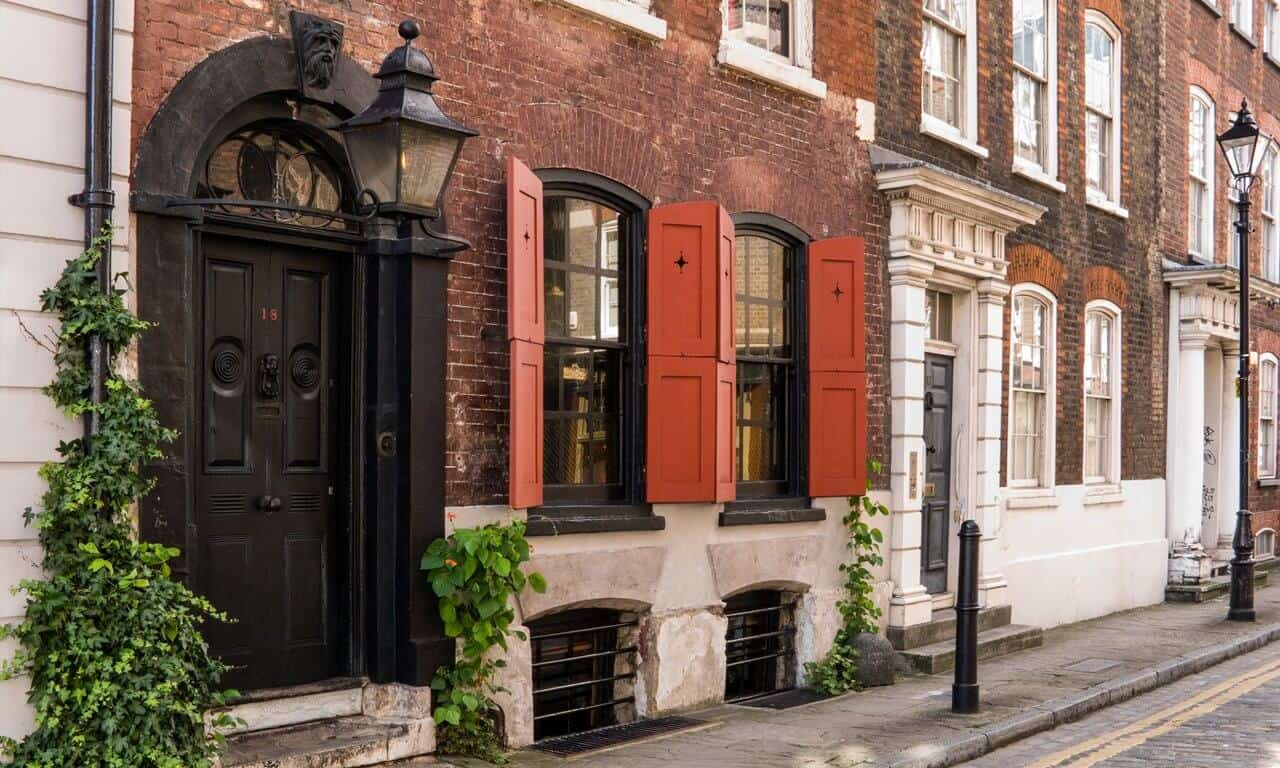 The exterior of Dennis Severs House in Folgate Street London
