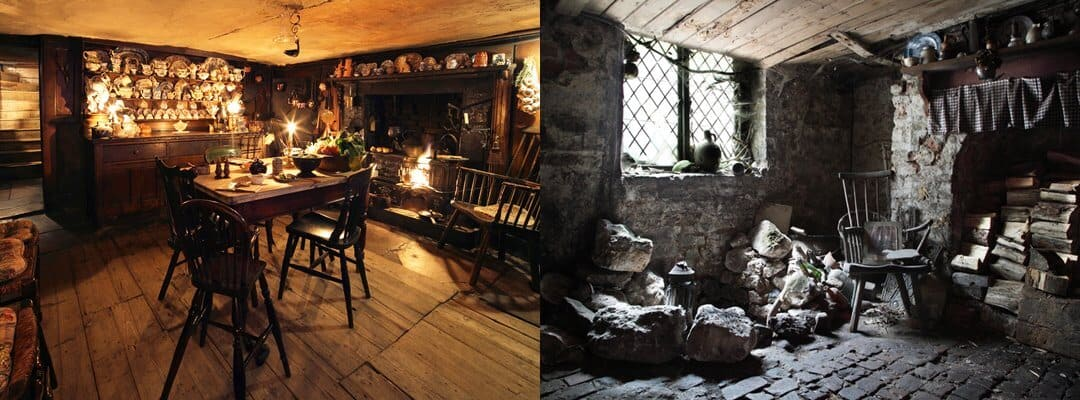 The cosy kitchen and the cobweb covered cellar showing the remains of the 12th century Spitalfields hospital  Photograph © Roelof Bakker