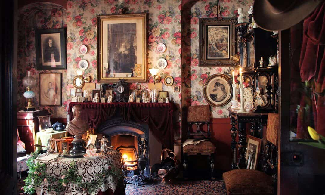 Inside the Victorian room showing the clutter and collections of the later Jervis family at Dennis Severs House. Photograph © Roelof Bakker