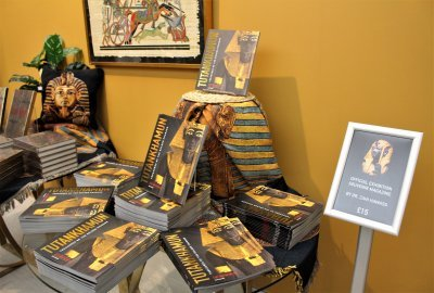 A display of exhibition magazines in the shop at the Tutankhamun Exhibition in LOndon.