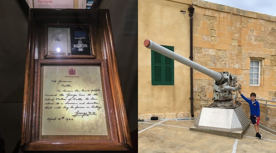 The George Cross and letter from the King, and a canon, both at the National War Museum in Valetta.