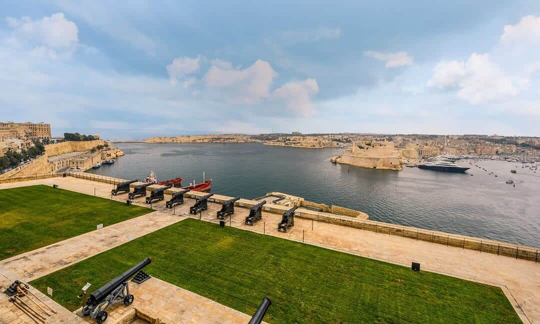 A view across the saluting battery and harbour of Valetta, Malta.