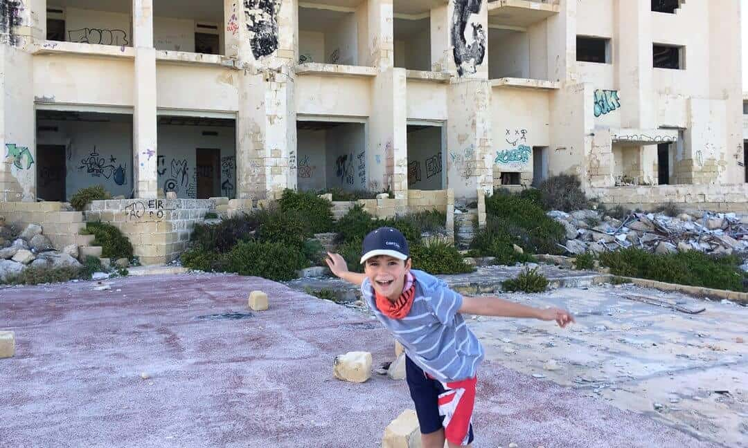 My son playing on the old tennis courts of Jerma Palace in Marsascala Malta.