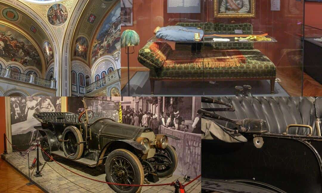 Franz Ferdinand car and close up of bullet and uniform in Military Museum Vienna.