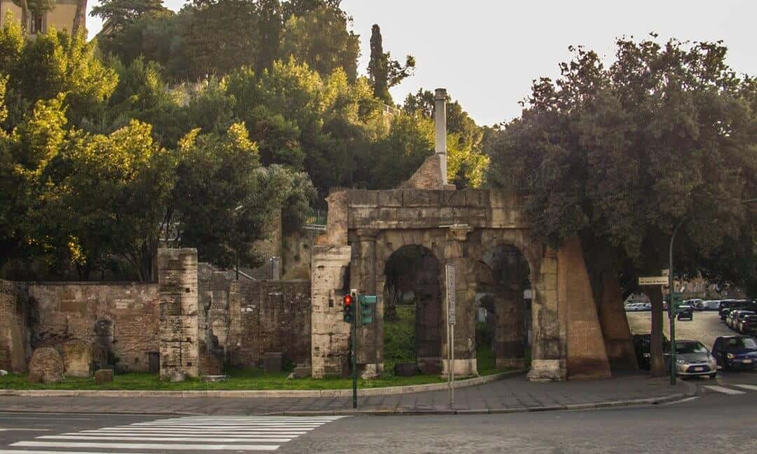 The Porta Carmentalis in the Servian Walls, Rome.