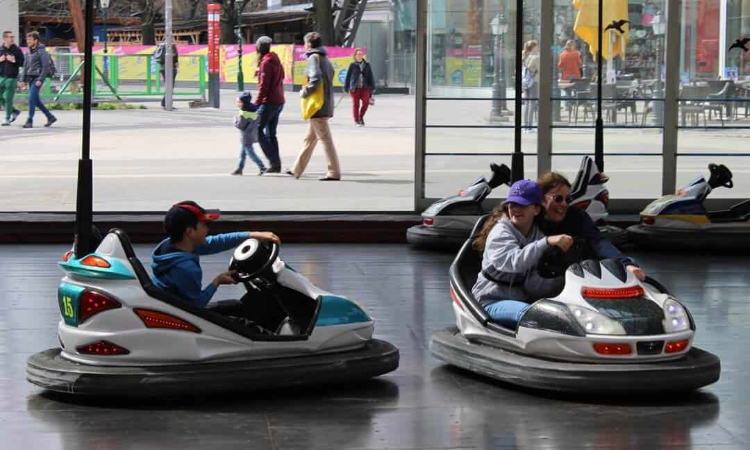 My family driving the dodgems in Prater Park, Vienna