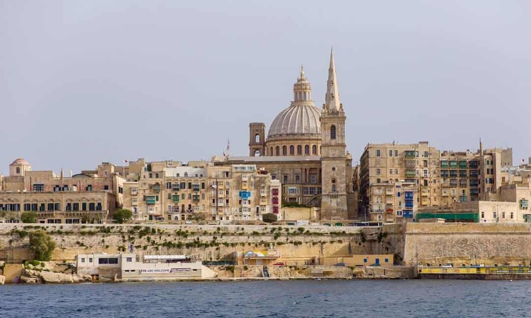 The famous Valetta skyline from the harbour.