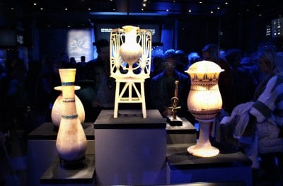 Vases on display in the Tutankhamun Exhibition.