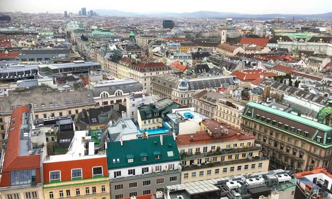 View over the baroque rooftops from St Stephans Cathedral in Vienna.