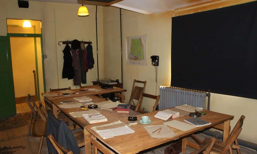 Inside the blacked out hut at Bletchley Park showing where the codebreakers worked