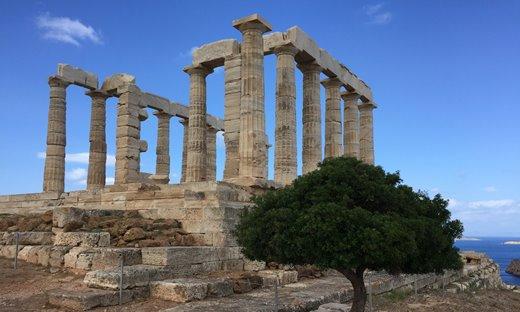 The Temple of Poseidon at Cape Sounion, in the Attica region of Greece.